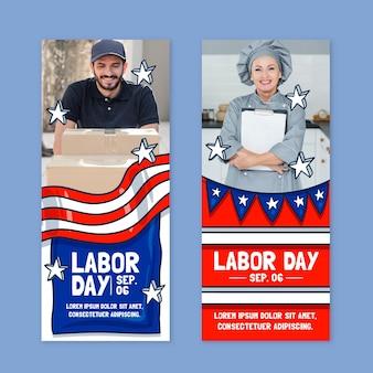 Handgezeichnete vertikale banner des arbeitstages mit foto eingestellt
