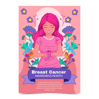 Handgezeichnete vertikale flyer-vorlage für brustkrebs-bewusstseinsmonat