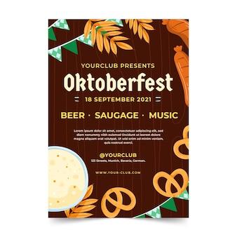 Handgezeichnete vertikale flyer vorlage für das oktoberfest