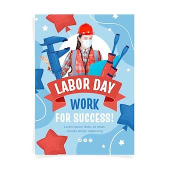 Handgezeichnete vertikale flyer-vorlage für den arbeitstag mit foto