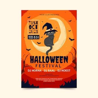 Handgezeichnete vertikale halloween-party-flyer-vorlage