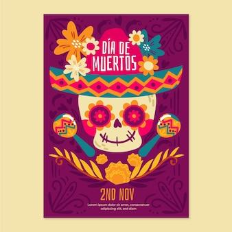 Handgezeichnete vertikale plakatvorlage dia de muertos