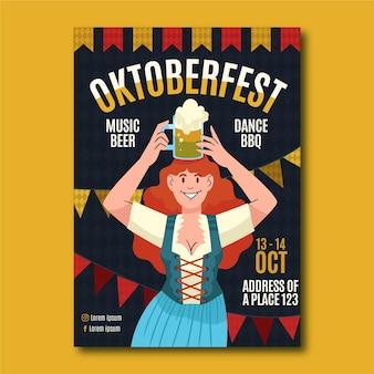 Handgezeichnete vertikale plakatvorlage für das oktoberfest