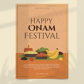 Handgezeichnete vertikale plakatvorlage für onam