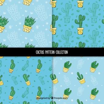 Handgezeichnete vielzahl von kaktusmustern
