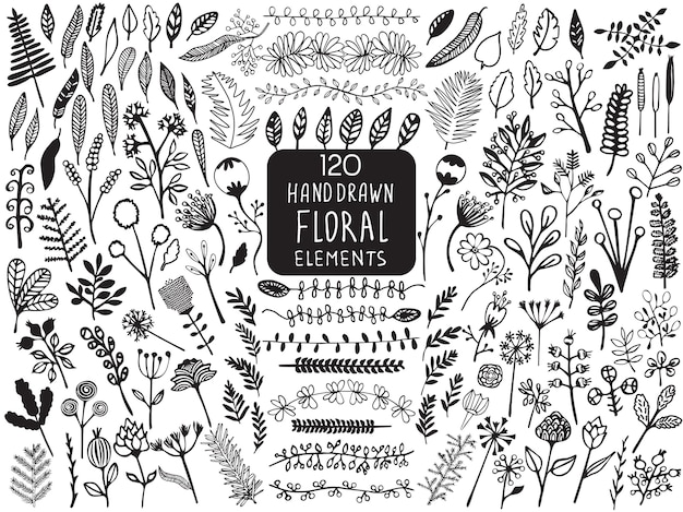 Handgezeichnete vintage blumenelemente von blumen, blättern, zweigen, dekorativen pflanzen für designhintergrund, einladungen, grußkarten, logos, flayers, scrapbooking usw.