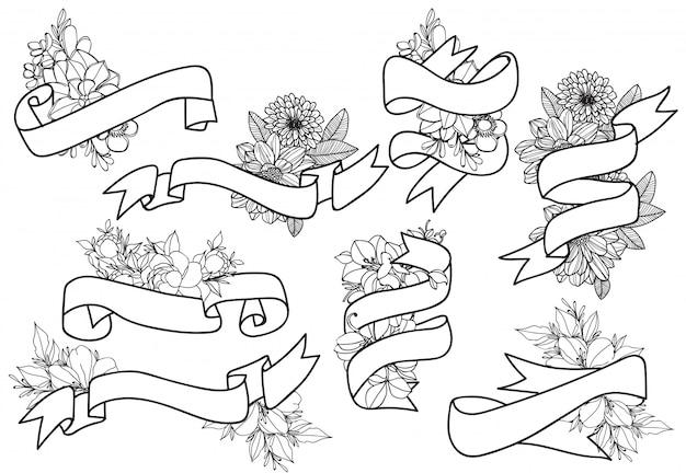 Handgezeichnete vintage florale elemente. set blumen, ikonen und dekorative elemente.
