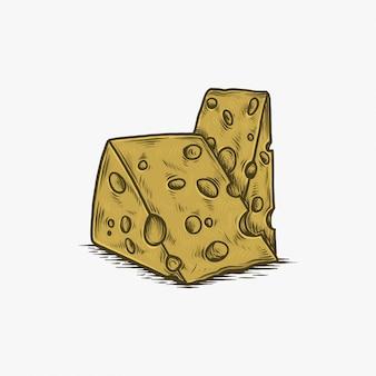 Handgezeichnete vintage käse