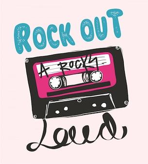 Handgezeichnete vintage kassette mit slogan