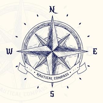 Handgezeichnete vintage kompass