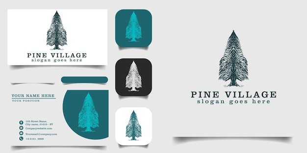 Handgezeichnete vintage logo vorlage und visitenkarte