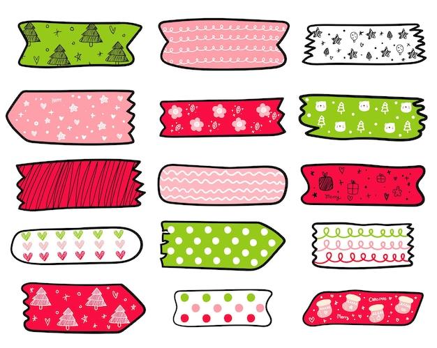 Handgezeichnete washi tape weihnachtskollektion
