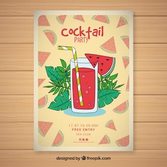Handgezeichnete wassermelone cocktailparty broschüre