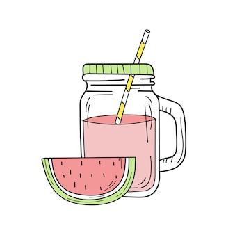 Handgezeichnete wassermelonenlimonade in einem glas. vektor auf weißem hintergrund. frisches sommergetränk
