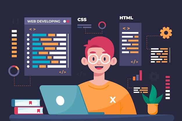 Handgezeichnete webentwickler