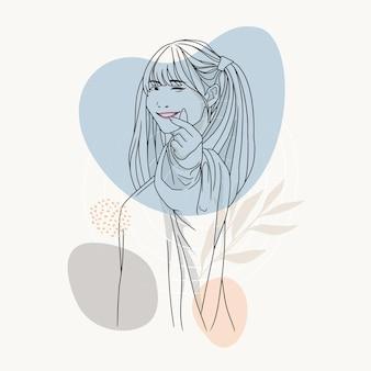 Handgezeichnete weibliche figur mit herzförmigen händen im linienkunststil