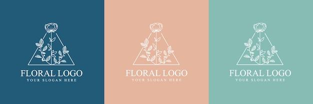 Handgezeichnete weibliche schönheit und florales botanisches logo für haut- und haarpflege im spa-salon