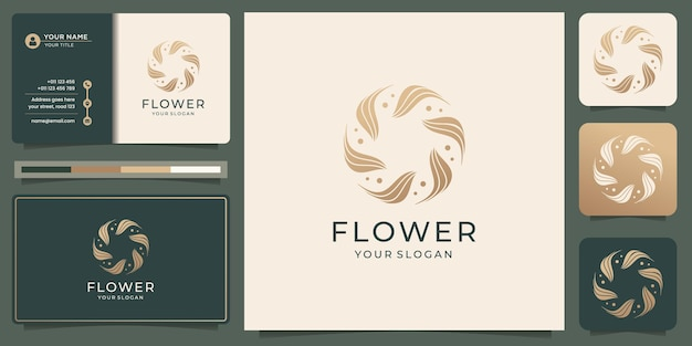 Handgezeichnete weibliche schönheitsblume und kreisförmiges botanisches logo für die hautpflege im spa-salon mit visitenkartenvorlage. premium-vektor