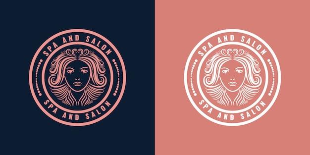 Handgezeichnete weibliche und florale logo-abzeichen des rosa frauengesichtskonzepts, geeignet für haarpflege- und schönheitsunternehmen premium des spa-salons