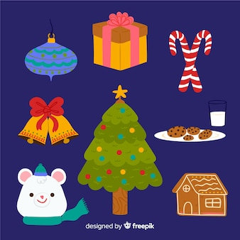Handgezeichnete weihnachten elementsammlung