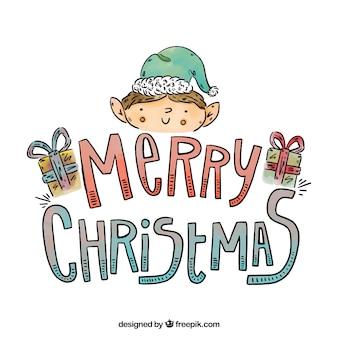 Handgezeichnete weihnachten hintergrund mit einem elf