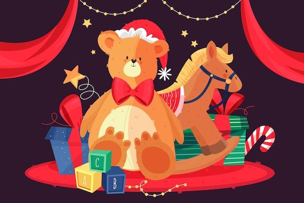 Handgezeichnete weihnachten spielzeug hintergrund