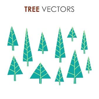 Handgezeichnete weihnachtsbäume in verschiedenen illustrationsstilen