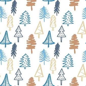 Handgezeichnete weihnachtsbaum hintergrund doodle tinte nahtlose muster für das neue jahr