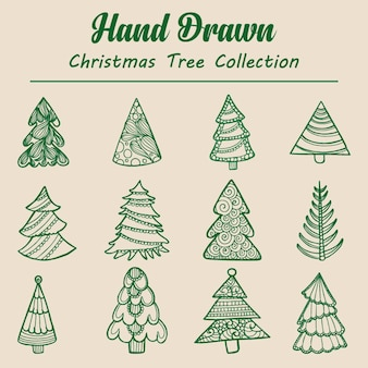 Handgezeichnete weihnachtsbaum sammlung