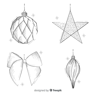 Handgezeichnete weihnachtsdekoration pack