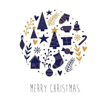 Handgezeichnete weihnachtselemente in blau und gold auf weißem hintergrund. elemente für die dekoration. postkarte zu weihnachten