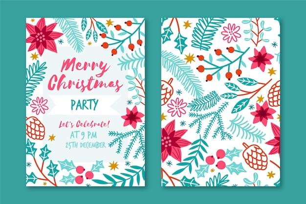 Handgezeichnete weihnachtsfeier flyer vorlage