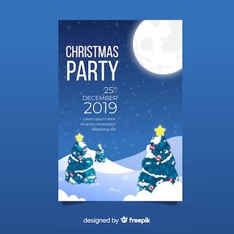 Handgezeichnete weihnachtsfeier plakat vorlage