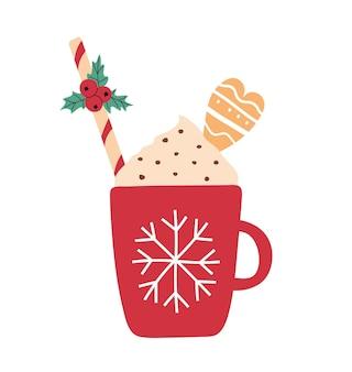 Handgezeichnete weihnachtsillustration einer tasse heißem getränk mit sahne