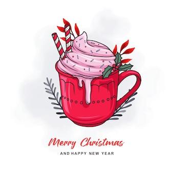 Handgezeichnete weihnachtskarte mit heißer schokolade im bunten stil
