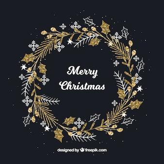 Handgezeichnete Weihnachtskranz Gold Hintergrund