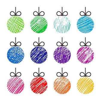 Handgezeichnete weihnachtskugeln. satz von zwölf bunten gekritzelweihnachtskugeln lokalisiert auf weißem hintergrund. winterurlaub-elemente. vektor-illustration