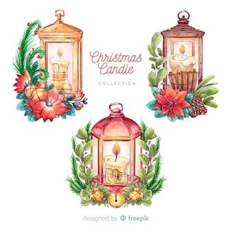 Handgezeichnete weihnachtslaternensammlung