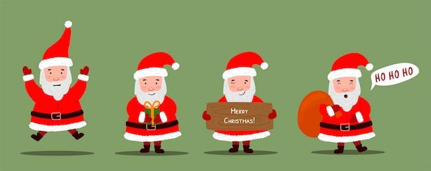 Handgezeichnete weihnachtsmann-charaktere-sammlung