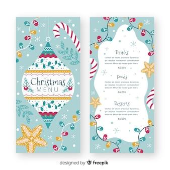 Handgezeichnete weihnachtsmenüvorlage