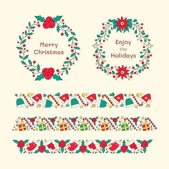 Handgezeichnete weihnachtsrahmen und rahmensammlung
