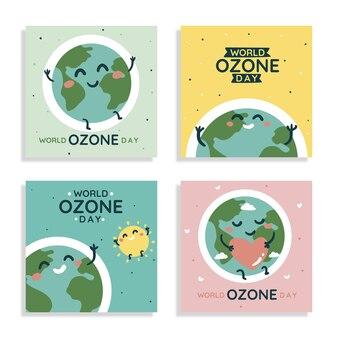 Handgezeichnete welt-ozon-tag-instagram-posts-sammlung