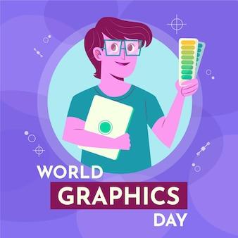 Handgezeichnete weltgrafik-tagesillustration mit grafikdesigner