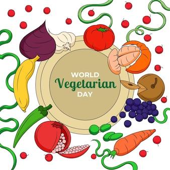 Handgezeichnete weltvegetarische tagesillustration mit obst und gemüse