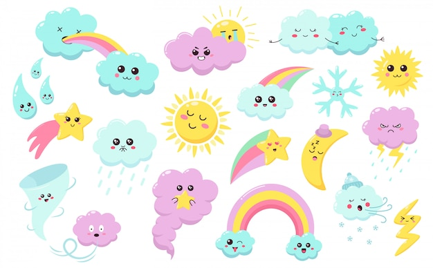 Handgezeichnete wetterphänomene. nette sonne, wolkenregenbogen, wetterzeichen, babystern, schneeflocke und windbeschichtete symbole setzen. sonne und wolkenwetter, regenbogen und regen kritzeln glückliche illustration