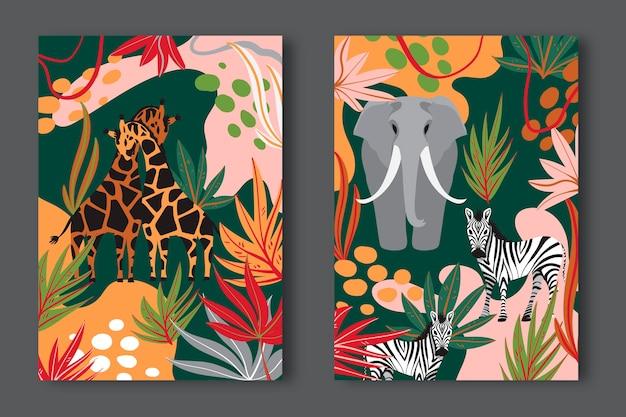 Handgezeichnete wilde tiere deckt sammlung