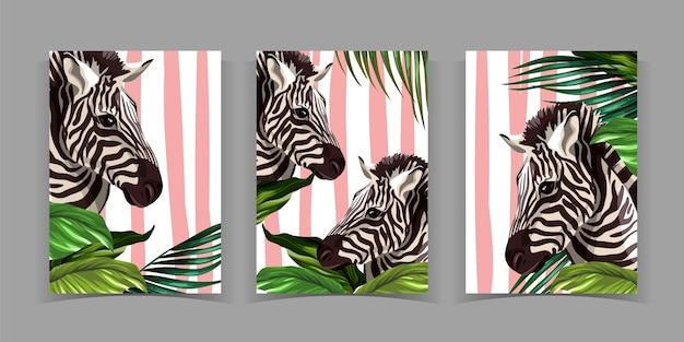 Handgezeichnete wildtier-cover-kollektion