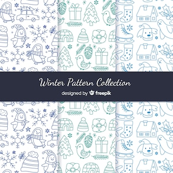 Handgezeichnete winter-muster-kollektion