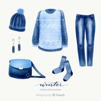 Handgezeichnete winter-outfit