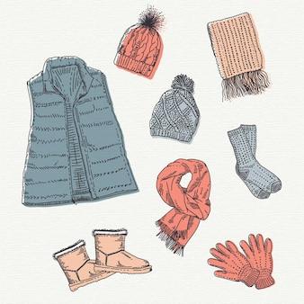 Handgezeichnete winterkleidung und das nötigste
